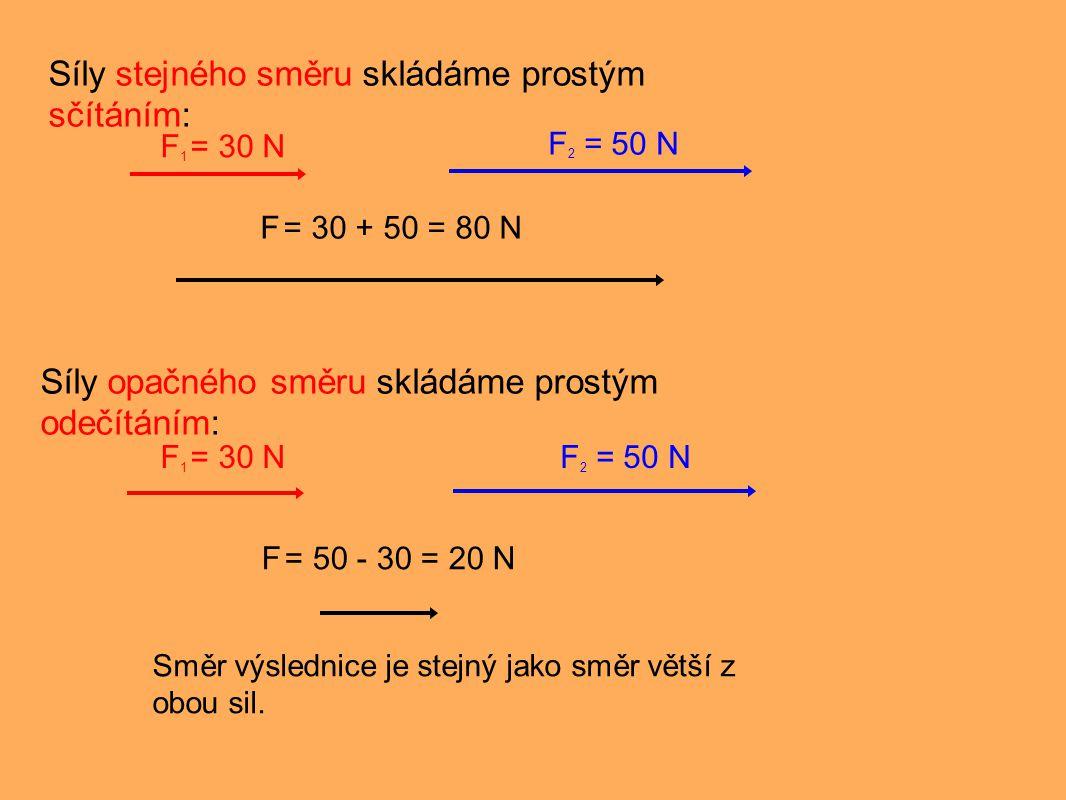Síly různého směru skládáme grafickou metodou rovnoběžníku sil: F 1 = 30 N F 2 = 50 N F