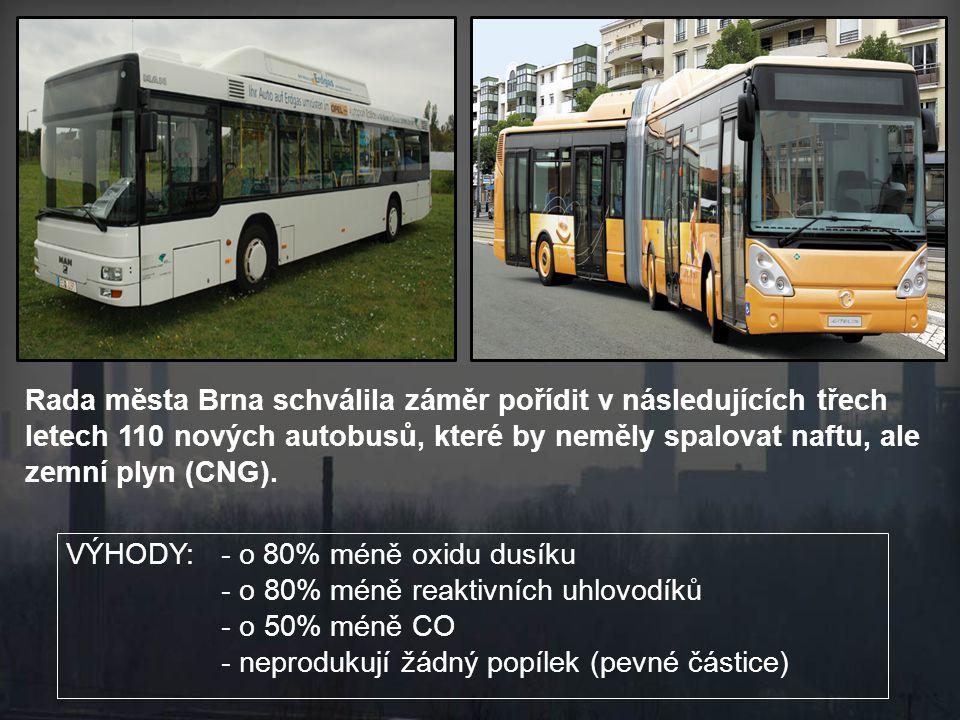 Rada města Brna schválila záměr pořídit v následujících třech letech 110 nových autobusů, které by neměly spalovat naftu, ale zemní plyn (CNG).