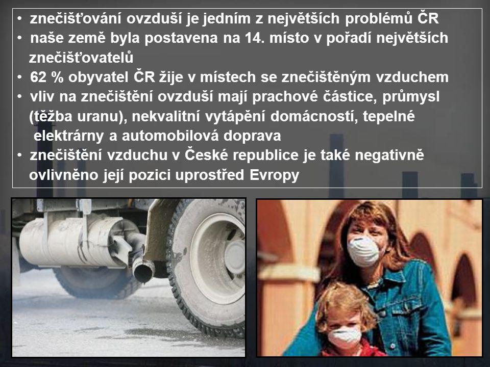 znečišťování ovzduší je jedním z největších problémů ČR naše země byla postavena na 14.