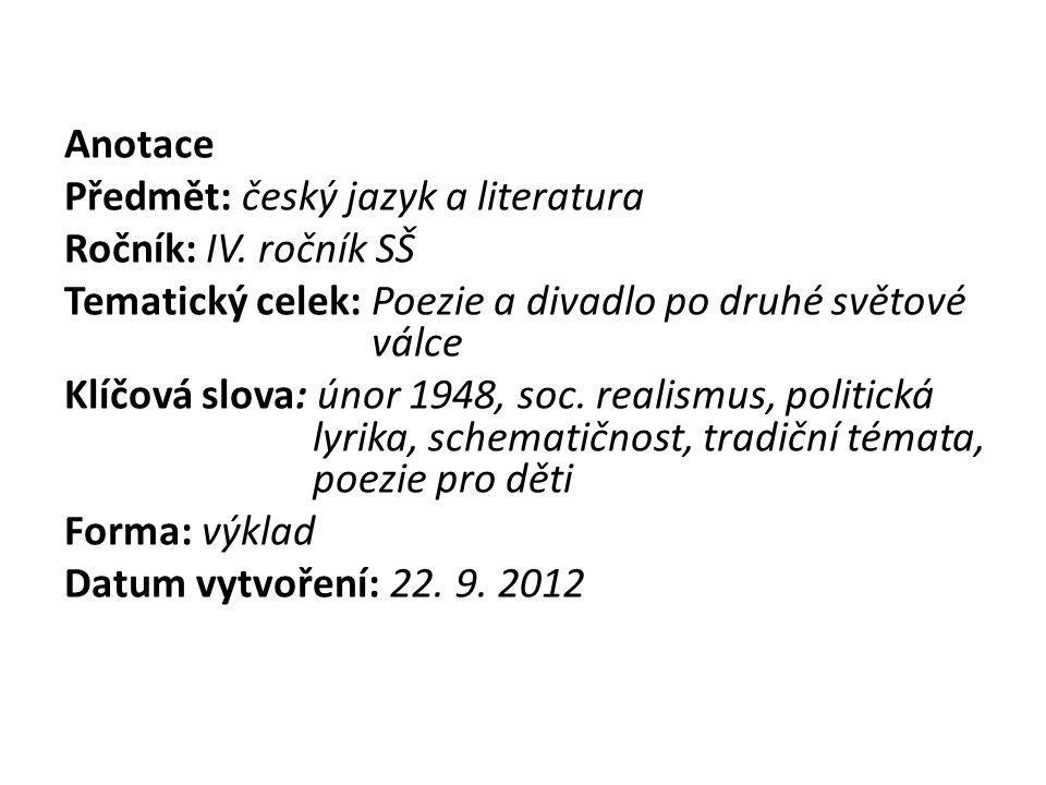 Poezie 50. a počátku 60. let