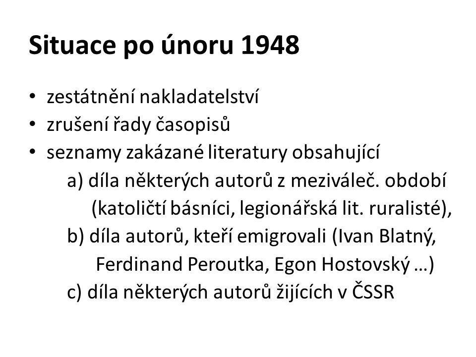 Situace po únoru 1948 zestátnění nakladatelství zrušení řady časopisů seznamy zakázané literatury obsahující a) díla některých autorů z meziváleč. obd