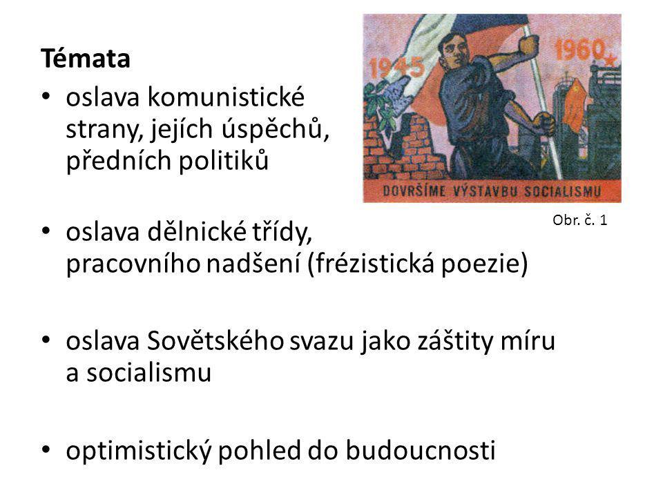 Témata oslava komunistické strany, jejích strany, jejích úspěchů,předních předních politiků oslava dělnické třídy, pracovního nadšení (frézistická poe