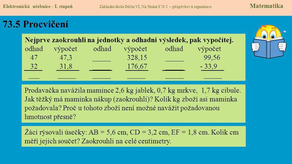 73.5 Procvičení Elektronická učebnice - I.