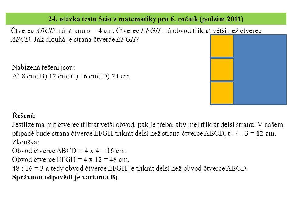 Čtverec ABCD má stranu a = 4 cm. Čtverec EFGH má obvod třikrát větší než čtverec ABCD.