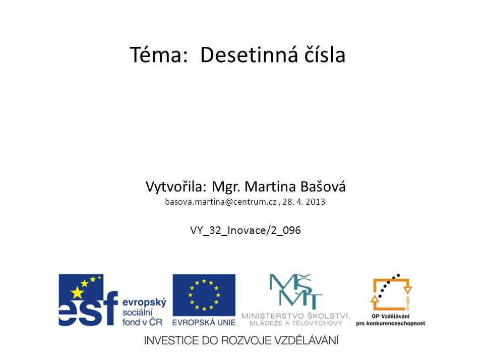 Téma: Desetinná čísla Vytvořila: Mgr. Martina Bašová basova.martina@centrum.cz, 28.