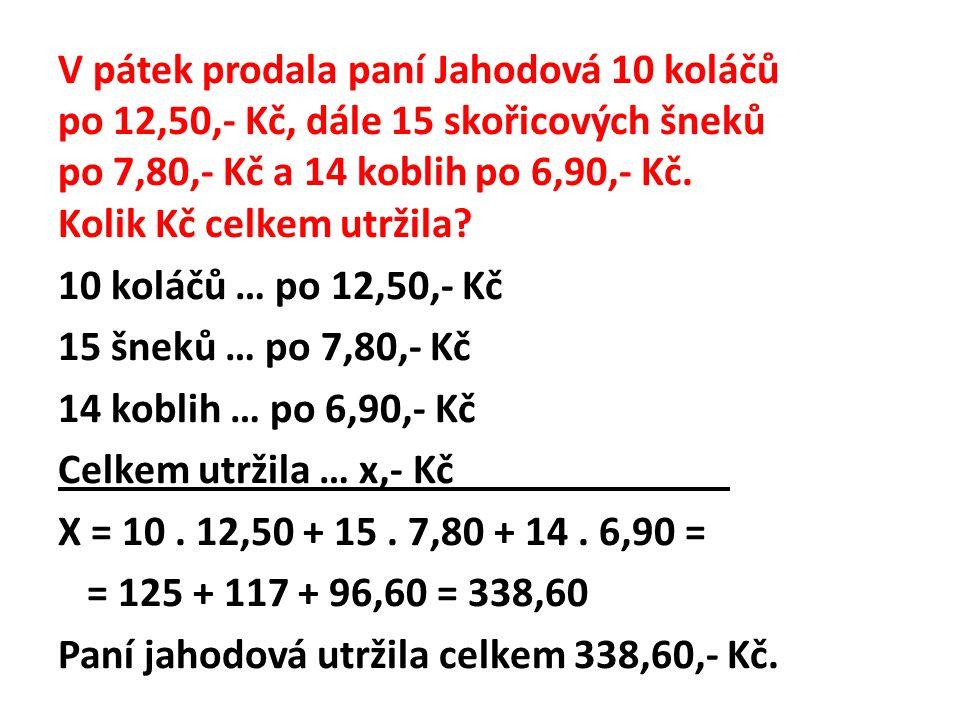 V pátek prodala paní Jahodová 10 koláčů po 12,50,- Kč, dále 15 skořicových šneků po 7,80,- Kč a 14 koblih po 6,90,- Kč.