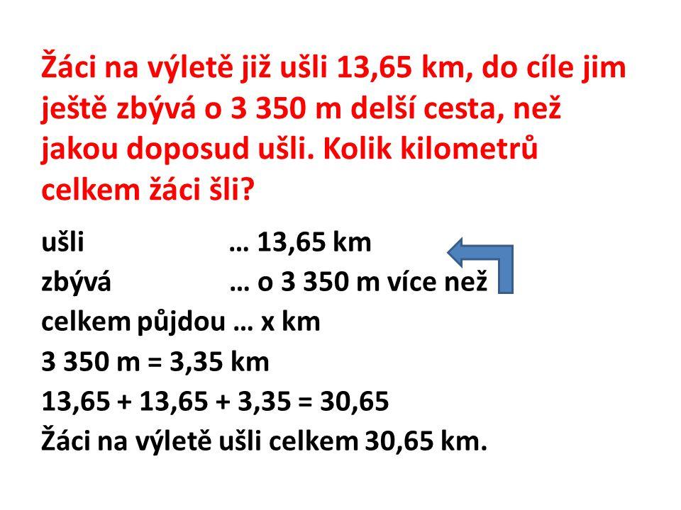 Žáci na výletě již ušli 13,65 km, do cíle jim ještě zbývá o 3 350 m delší cesta, než jakou doposud ušli. Kolik kilometrů celkem žáci šli? ušli … 13,65
