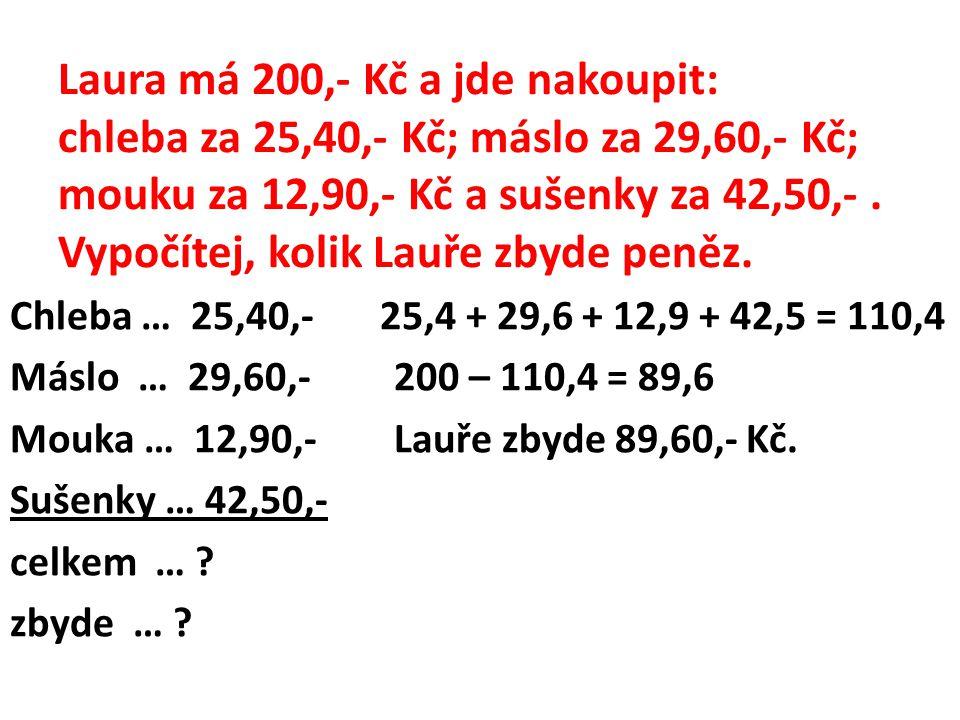 Laura má 200,- Kč a jde nakoupit: chleba za 25,40,- Kč; máslo za 29,60,- Kč; mouku za 12,90,- Kč a sušenky za 42,50,-. Vypočítej, kolik Lauře zbyde pe