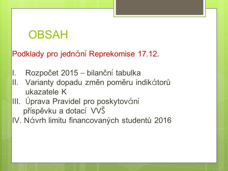 OBSAH Podklady pro jedn á n í Reprekomise 17.12. I.