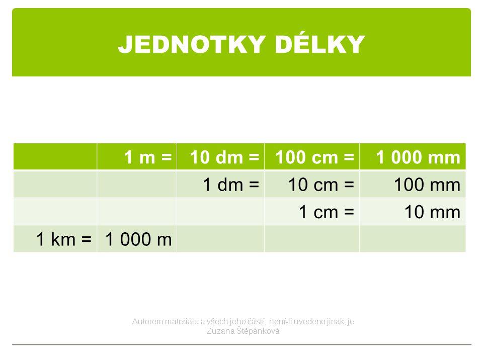 JEDNOTKY DÉLKY 1 m =10 dm =100 cm =1 000 mm 1 dm =10 cm =100 mm 1 cm =10 mm 1 km =1 000 m Autorem materiálu a všech jeho částí, není-li uvedeno jinak, je Zuzana Štěpánková