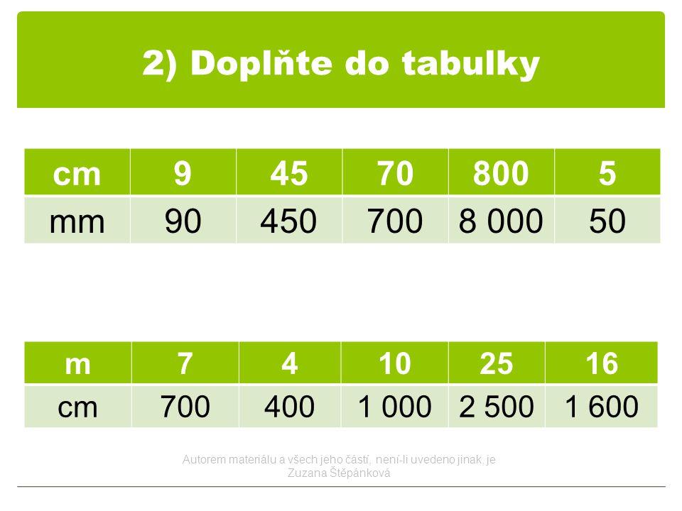 2) Doplňte do tabulky cm945708005 mm904507008 00050 m74102516 cm7004001 0002 5001 600 Autorem materiálu a všech jeho částí, není-li uvedeno jinak, je Zuzana Štěpánková
