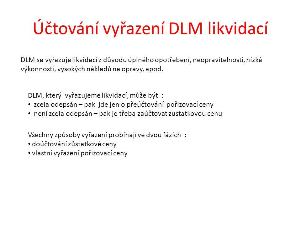 Účtování vyřazení DLM likvidací DLM se vyřazuje likvidací z důvodu úplného opotřebení, neopravitelnosti, nízké výkonnosti, vysokých nákladů na opravy, apod.
