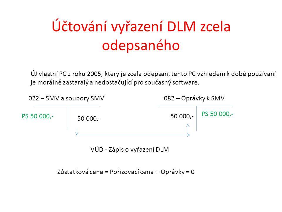 Účtování vyřazení DLM zcela odepsaného 022 – SMV a soubory SMV082 – Oprávky k SMV PS 50 000,- PS 50 000,- VÚD - Zápis o vyřazení DLM ÚJ vlastní PC z roku 2005, který je zcela odepsán, tento PC vzhledem k době používání je morálně zastaralý a nedostačující pro současný software.