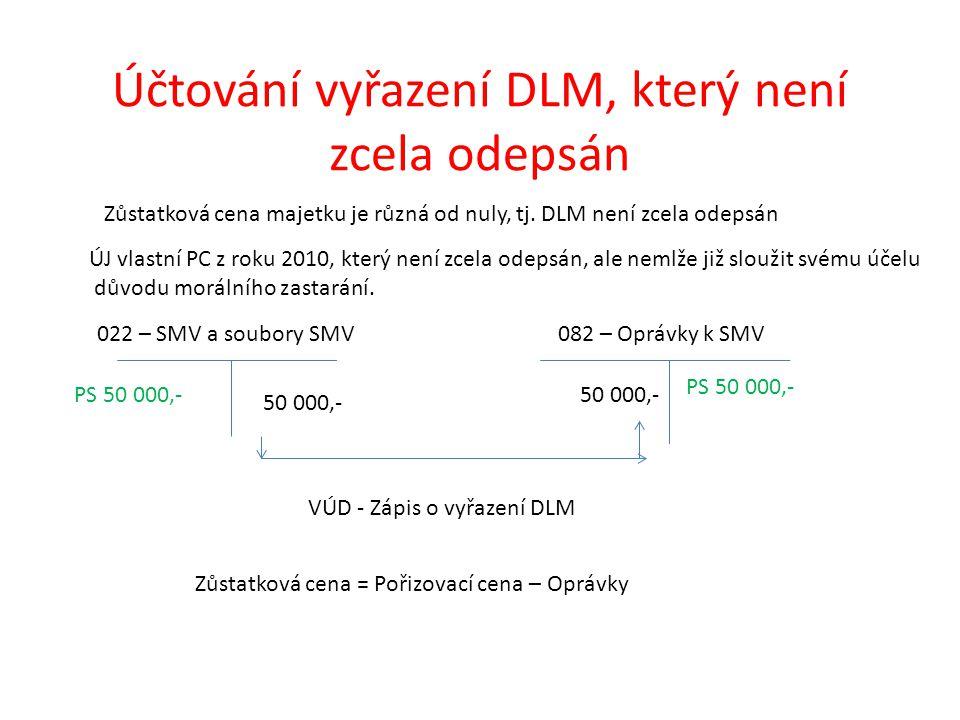 Účtování vyřazení DLM, který není zcela odepsán 022 – SMV a soubory SMV082 – Oprávky k SMV PS 50 000,- PS 50 000,- VÚD - Zápis o vyřazení DLM Zůstatková cena majetku je různá od nuly, tj.