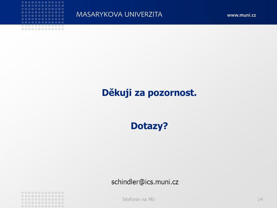 Telefonie na MU14 Děkuji za pozornost. Dotazy schindler@ics.muni.cz