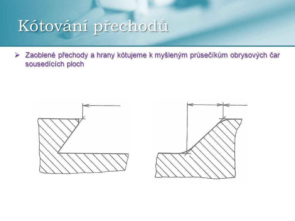 Kótování přechodů  Zaoblené přechody a hrany kótujeme k myšleným průsečíkům obrysových čar sousedících ploch