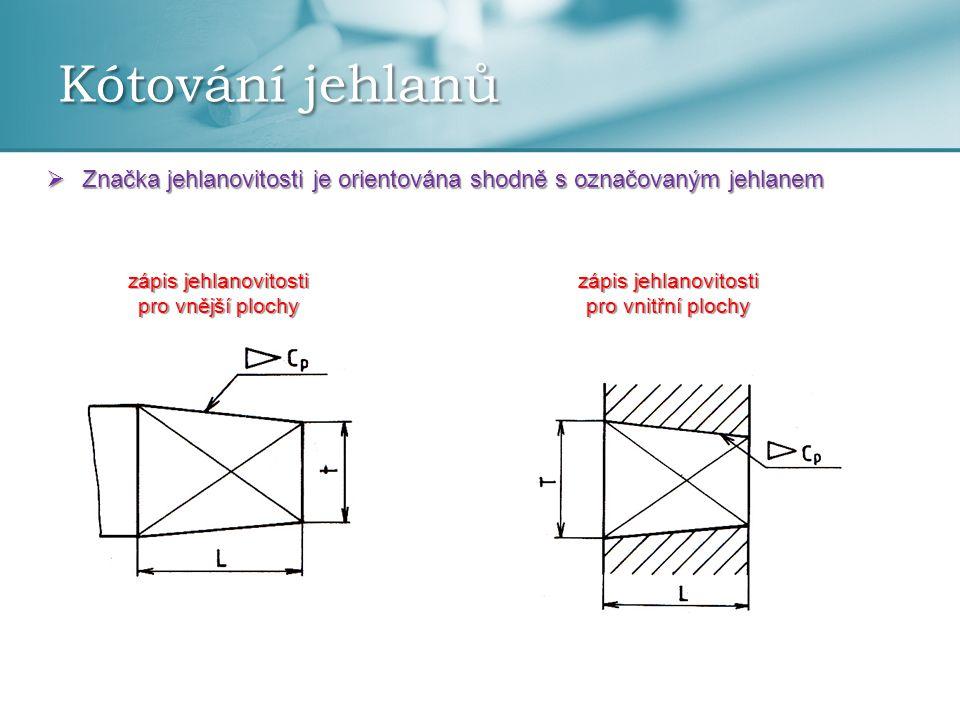 Kótování jehlanů  Značka jehlanovitosti je orientována shodně s označovaným jehlanem zápis jehlanovitosti pro vnější plochy zápis jehlanovitosti pro