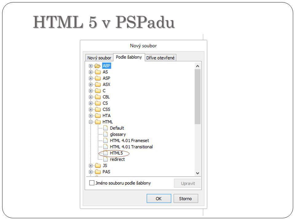 HTML 5 v PSPadu