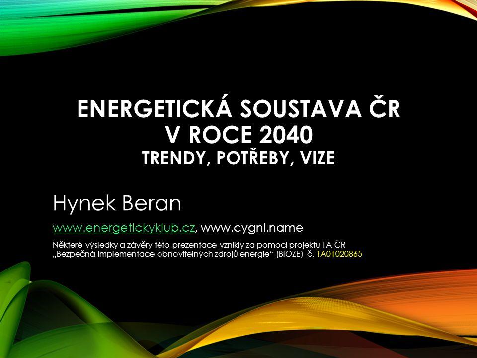 ENERGETICKÁ SOUSTAVA ČR V ROCE 2040 TRENDY, POTŘEBY, VIZE Hynek Beran www.energetickyklub.czwww.energetickyklub.cz, www.cygni.name Některé výsledky a