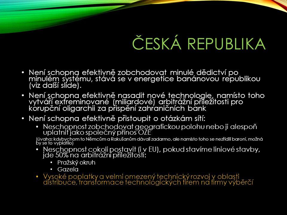 ČESKÁ REPUBLIKA Není schopna efektivně zobchodovat minulé dědictví po minulém systému, stává se v energetice banánovou republikou (viz další slide). N