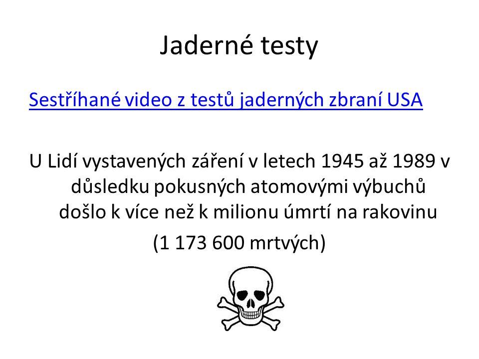 Jaderné testy Sestříhané video z testů jaderných zbraní USA U Lidí vystavených záření v letech 1945 až 1989 v důsledku pokusných atomovými výbuchů došlo k více než k milionu úmrtí na rakovinu (1 173 600 mrtvých)