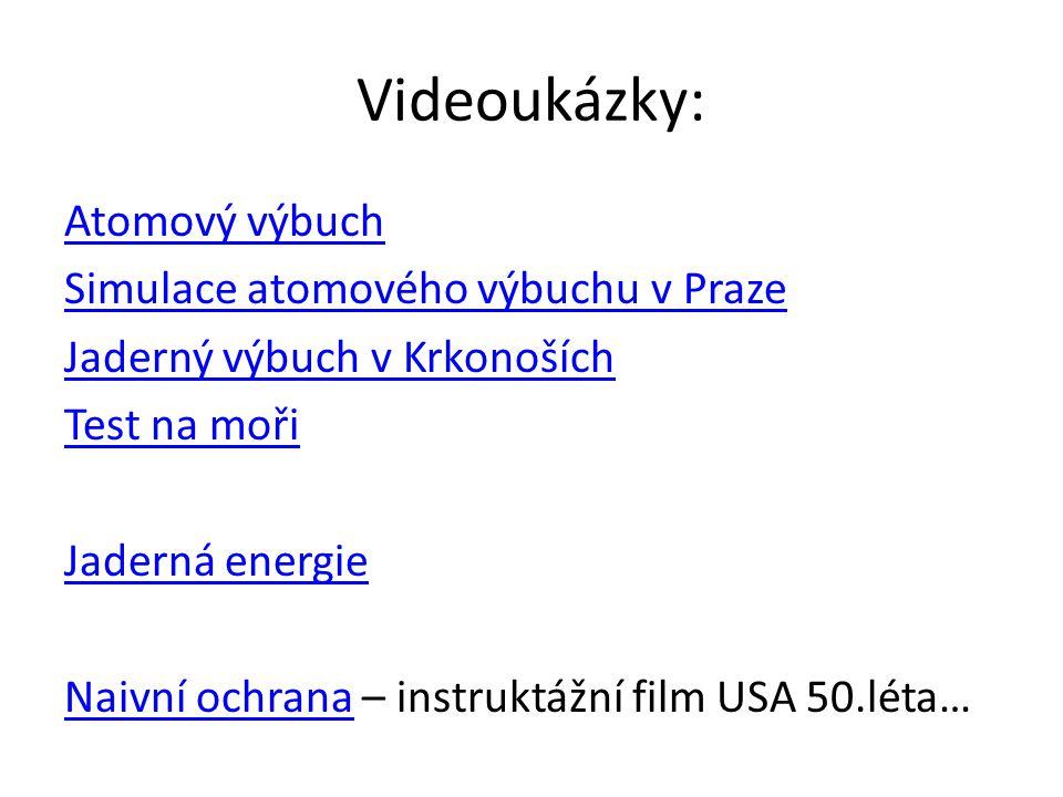 Videoukázky: Atomový výbuch Simulace atomového výbuchu v Praze Jaderný výbuch v Krkonoších Test na moři Jaderná energie Naivní ochranaNaivní ochrana – instruktážní film USA 50.léta…
