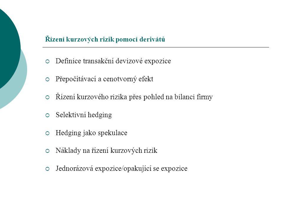 Řízení kurzových rizik pomocí derivátů  Definice transakční devizové expozice  Přepočítávací a cenotvorný efekt  Řízení kurzového rizika přes pohle