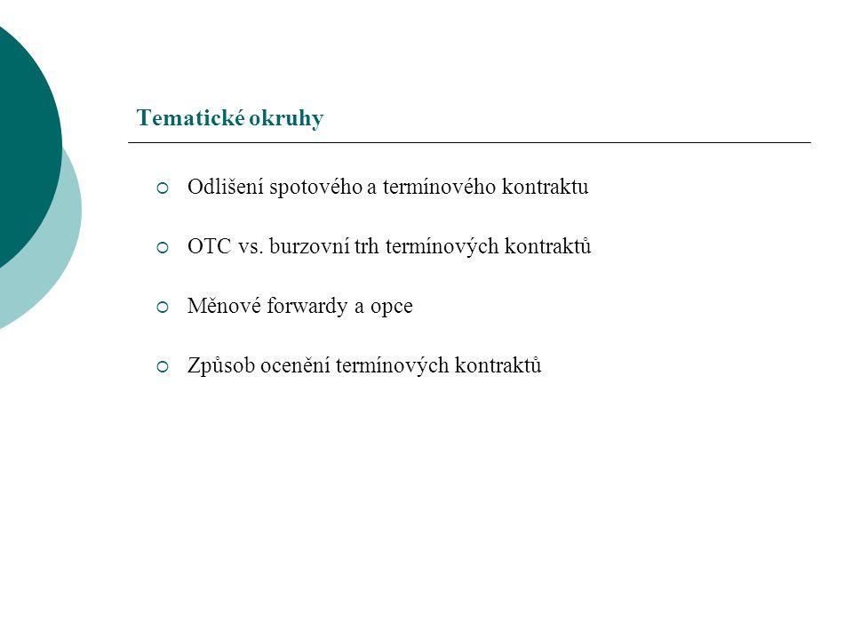 Tematické okruhy  Odlišení spotového a termínového kontraktu  OTC vs. burzovní trh termínových kontraktů  Měnové forwardy a opce  Způsob ocenění t