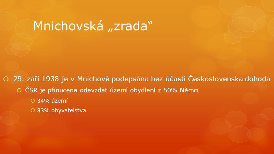 """Mnichovská """"zrada""""  29. září 1938 je v Mnichově podepsána bez účasti Československa dohoda  ČSR je přinucena odevzdat území obydlení z 50% Němci  3"""