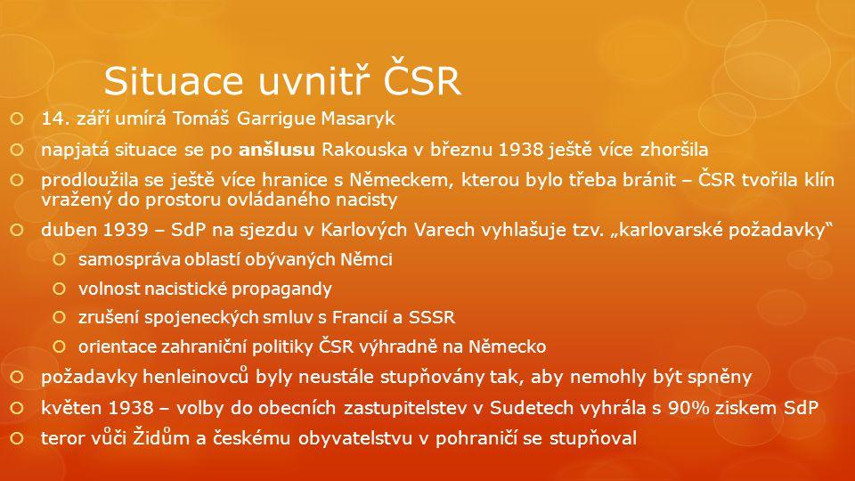 Situace uvnitř ČSR  14. září umírá Tomáš Garrigue Masaryk  napjatá situace se po anšlusu Rakouska v březnu 1938 ještě více zhoršila  prodloužila se