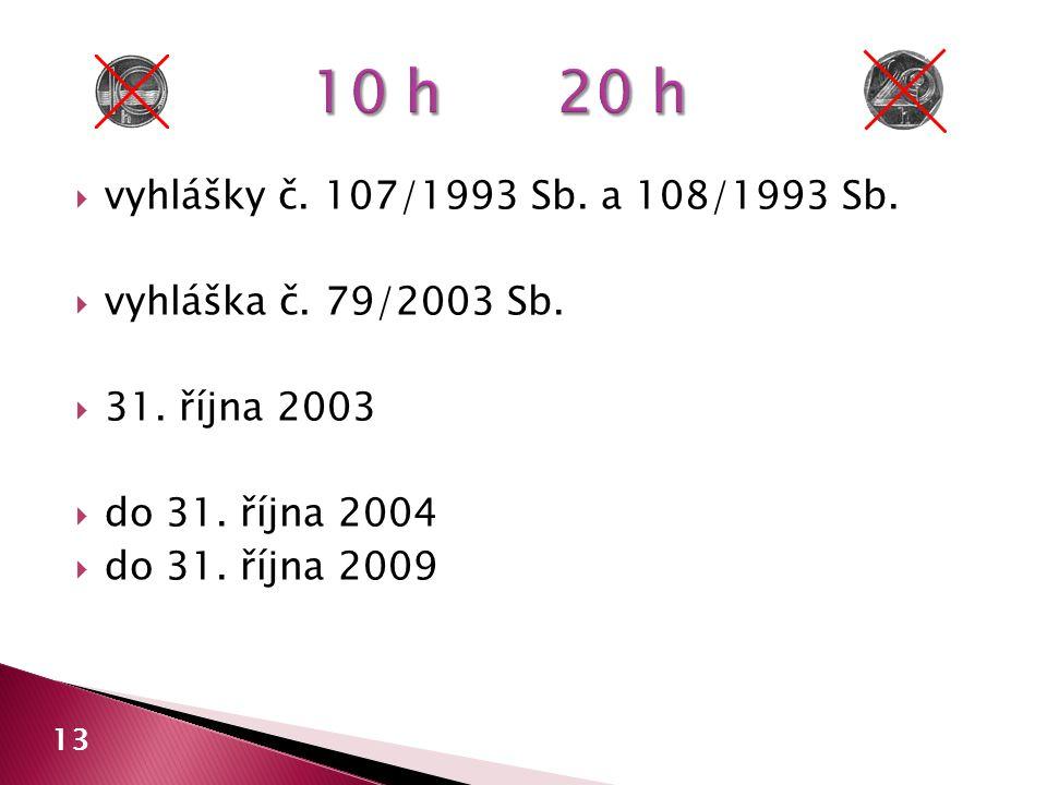  vyhlášky č. 107/1993 Sb. a 108/1993 Sb.  vyhláška č. 79/2003 Sb.  31. října 2003  do 31. října 2004  do 31. října 2009 13