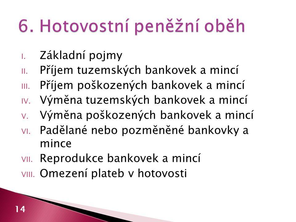 I.Základní pojmy II. Příjem tuzemských bankovek a mincí III.