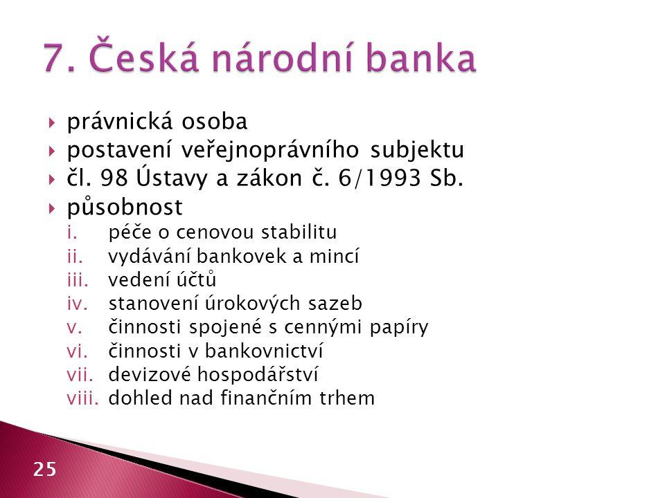  právnická osoba  postavení veřejnoprávního subjektu  čl. 98 Ústavy a zákon č. 6/1993 Sb.  působnost i.péče o cenovou stabilitu ii.vydávání bankov