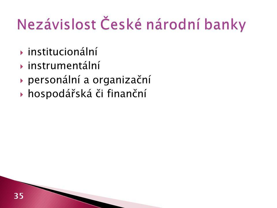  institucionální  instrumentální  personální a organizační  hospodářská či finanční 35