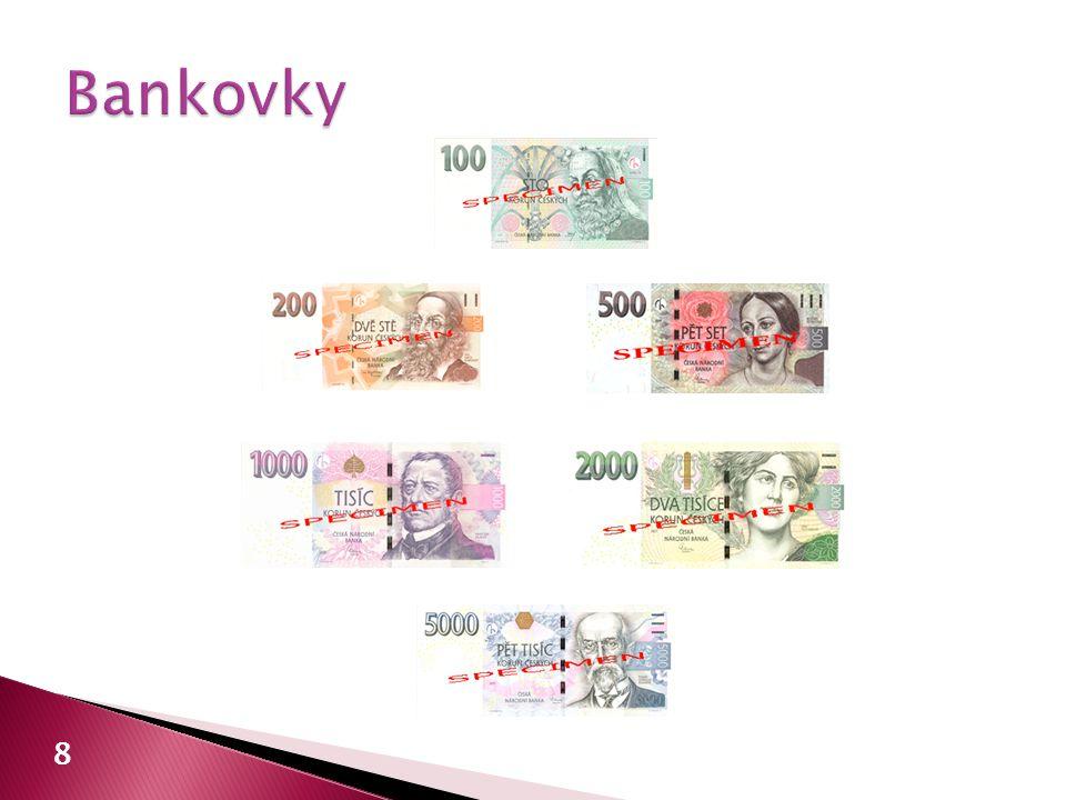  povinnost bezplatné výměny pro Českou národní banku a úvěrovou instituci a)jakékoli bankovky a mince b)opotřebované oběhem a běžně poškozené c)prohlášené za neplatné po dobu stanovenou pro výměnu d)pamětní mince 19