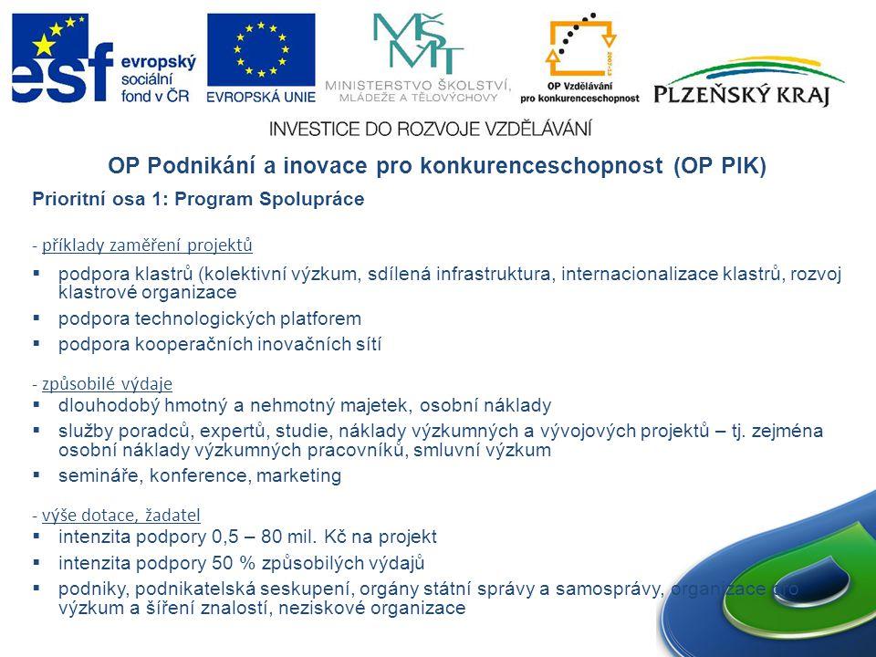 OP Podnikání a inovace pro konkurenceschopnost (OP PIK) Prioritní osa 1: Program Spolupráce - příklady zaměření projektů  podpora klastrů (kolektivní výzkum, sdílená infrastruktura, internacionalizace klastrů, rozvoj klastrové organizace  podpora technologických platforem  podpora kooperačních inovačních sítí - způsobilé výdaje  dlouhodobý hmotný a nehmotný majetek, osobní náklady  služby poradců, expertů, studie, náklady výzkumných a vývojových projektů – tj.
