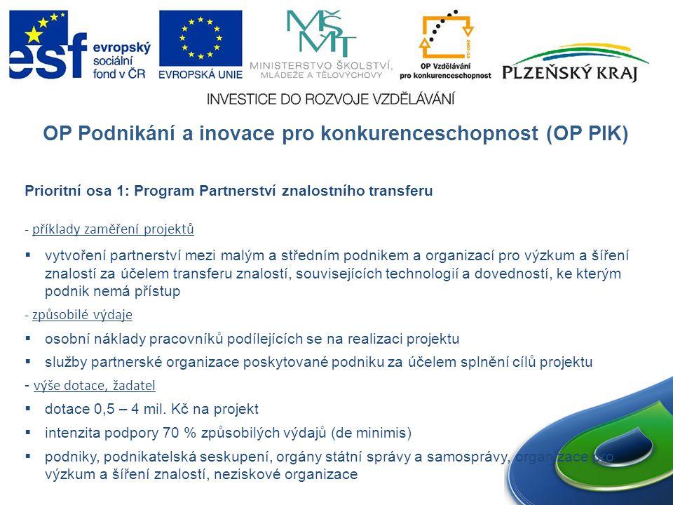 OP Podnikání a inovace pro konkurenceschopnost (OP PIK) Prioritní osa 1: Program Partnerství znalostního transferu - příklady zaměření projektů  vytvoření partnerství mezi malým a středním podnikem a organizací pro výzkum a šíření znalostí za účelem transferu znalostí, souvisejících technologií a dovedností, ke kterým podnik nemá přístup - způsobilé výdaje  osobní náklady pracovníků podílejících se na realizaci projektu  služby partnerské organizace poskytované podniku za účelem splnění cílů projektu - výše dotace, žadatel  dotace 0,5 – 4 mil.