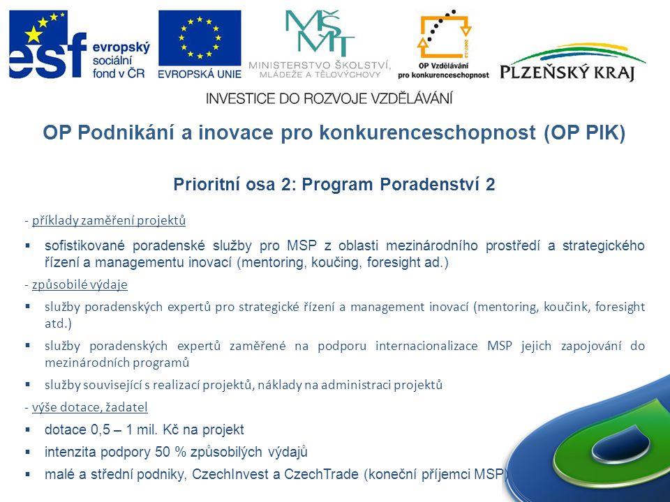 OP Podnikání a inovace pro konkurenceschopnost (OP PIK) Prioritní osa 2: Program Poradenství 2 - příklady zaměření projektů  sofistikované poradenské služby pro MSP z oblasti mezinárodního prostředí a strategického řízení a managementu inovací (mentoring, koučing, foresight ad.) - způsobilé výdaje  služby poradenských expertů pro strategické řízení a management inovací (mentoring, koučink, foresight atd.)  služby poradenských expertů zaměřené na podporu internacionalizace MSP jejich zapojování do mezinárodních programů  služby související s realizací projektů, náklady na administraci projektů - výše dotace, žadatel  dotace 0,5 – 1 mil.