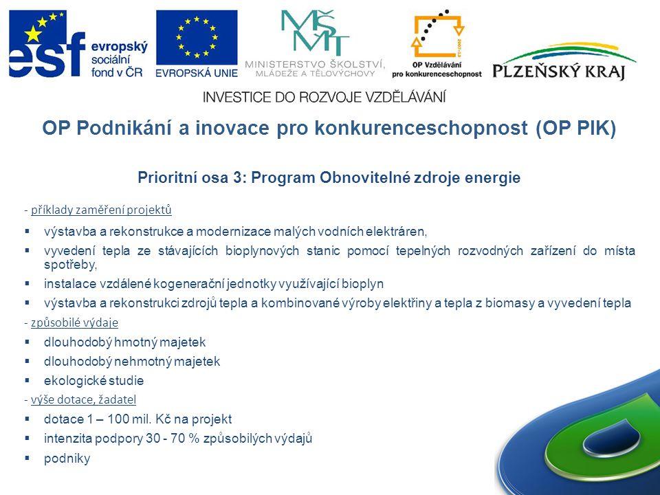 OP Podnikání a inovace pro konkurenceschopnost (OP PIK) Prioritní osa 3: Program Obnovitelné zdroje energie - příklady zaměření projektů  výstavba a rekonstrukce a modernizace malých vodních elektráren,  vyvedení tepla ze stávajících bioplynových stanic pomocí tepelných rozvodných zařízení do místa spotřeby,  instalace vzdálené kogenerační jednotky využívající bioplyn  výstavba a rekonstrukci zdrojů tepla a kombinované výroby elektřiny a tepla z biomasy a vyvedení tepla - způsobilé výdaje  dlouhodobý hmotný majetek  dlouhodobý nehmotný majetek  ekologické studie - výše dotace, žadatel  dotace 1 – 100 mil.