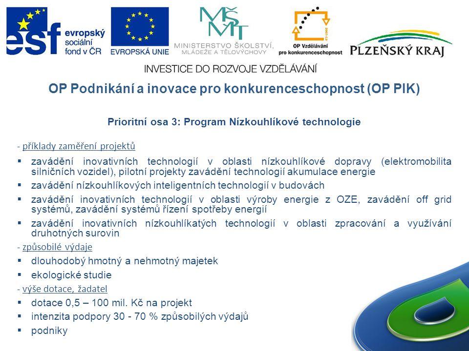 OP Podnikání a inovace pro konkurenceschopnost (OP PIK) Prioritní osa 3: Program Nízkouhlíkové technologie - příklady zaměření projektů  zavádění inovativních technologií v oblasti nízkouhlíkové dopravy (elektromobilita silničních vozidel), pilotní projekty zavádění technologií akumulace energie  zavádění nízkouhlíkových inteligentních technologií v budovách  zavádění inovativních technologií v oblasti výroby energie z OZE, zavádění off grid systémů, zavádění systémů řízení spotřeby energií  zavádění inovativních nízkouhlíkatých technologií v oblasti zpracování a využívání druhotných surovin - způsobilé výdaje  dlouhodobý hmotný a nehmotný majetek  ekologické studie - výše dotace, žadatel  dotace 0,5 – 100 mil.