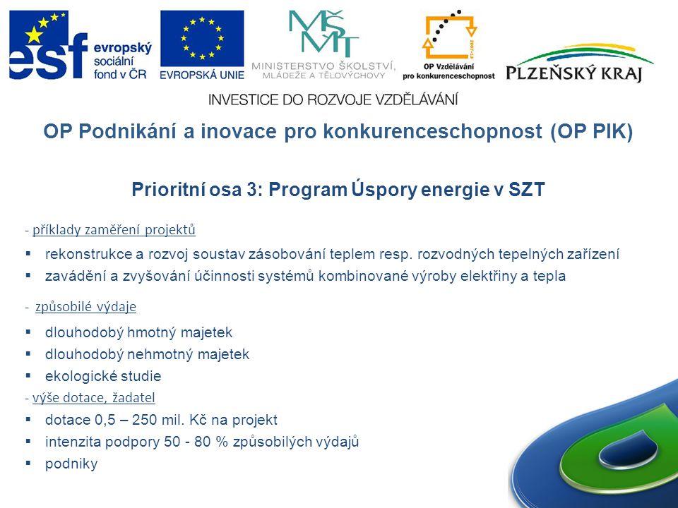 OP Podnikání a inovace pro konkurenceschopnost (OP PIK) Prioritní osa 3: Program Úspory energie v SZT - příklady zaměření projektů  rekonstrukce a rozvoj soustav zásobování teplem resp.