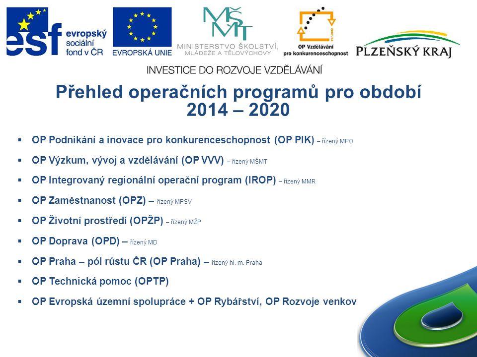 Přehled operačních programů pro období 2014 – 2020  OP Podnikání a inovace pro konkurenceschopnost (OP PIK) – řízený MPO  OP Výzkum, vývoj a vzdělávání (OP VVV) – řízený MŠMT  OP Integrovaný regionální operační program (IROP) – řízený MMR  OP Zaměstnanost (OPZ) – řízený MPSV  OP Životní prostředí (OPŽP) – řízený MŽP  OP Doprava (OPD) – řízený MD  OP Praha – pól růstu ČR (OP Praha) – řízený hl.