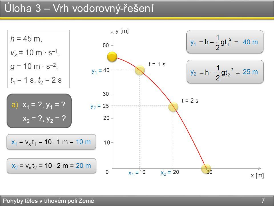 Úloha 3 – Vrh vodorovný-řešení Pohyby těles v tíhovém poli Země 8 h = 45 m, v x = 10 m·s –1, g = 10 m·s –2, t 1 = 1 s, t 2 = 2 s y [m] x [m] 10 0 2030 20 30 40 50 b) v 1 = ?, v 2 = .