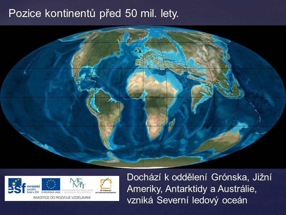 Pozice kontinentů před 50 mil. lety. Dochází k oddělení Grónska, Jižní Ameriky, Antarktidy a Austrálie, vzniká Severní ledový oceán