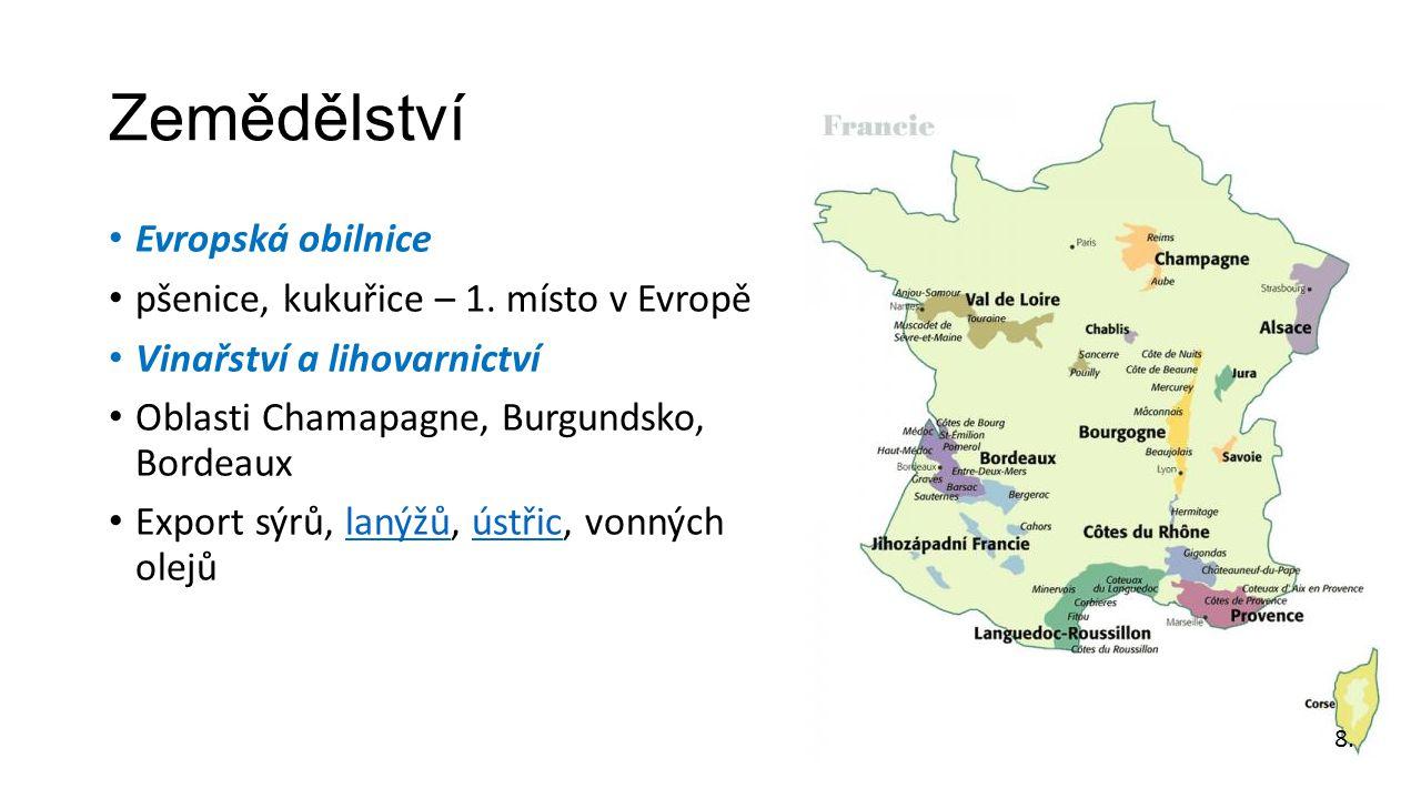 Zemědělství Evropská obilnice pšenice, kukuřice – 1. místo v Evropě Vinařství a lihovarnictví Oblasti Chamapagne, Burgundsko, Bordeaux Export sýrů, la