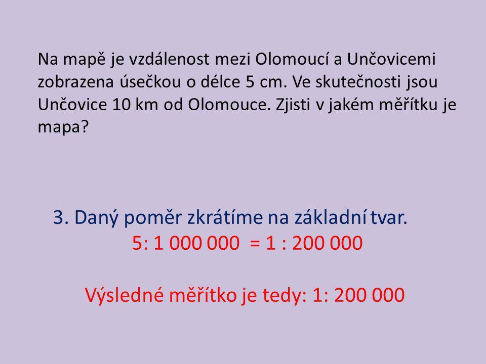 Počítání skutečné vzdálenosti Na mapě s měřítkem 1:50 000 je vzdálenost mezi Olomoucí a Přerovem zobrazena jako úsečka o délce 44 cm.