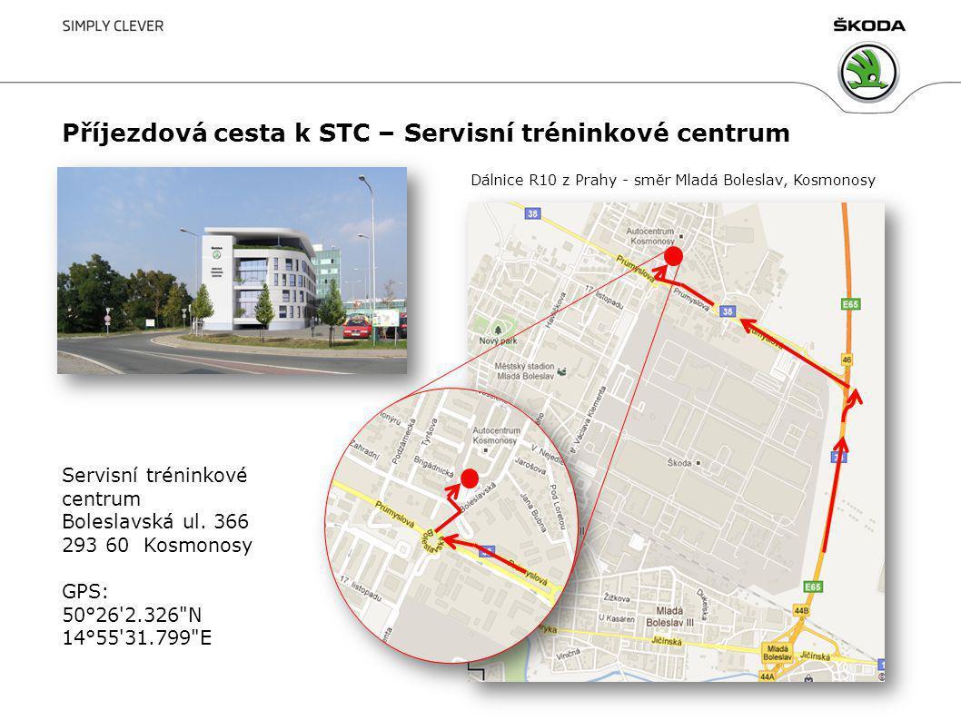 Příjezdová cesta k STC – Servisní tréninkové centrum Dálnice R10 z Prahy - směr Mladá Boleslav, Kosmonosy Servisní tréninkové centrum Boleslavská ul.