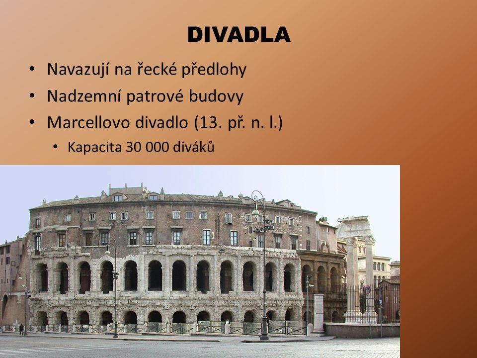 DIVADLA Navazují na řecké předlohy Nadzemní patrové budovy Marcellovo divadlo (13.