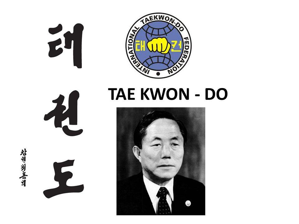 Tae – Noha, kop nohou, kop výskoku… Kwon – ruka, úder, drtit rukou… Do – životní cesta, krédo, způsob života Založeno – 11.4.1955 v Koreji Gen.