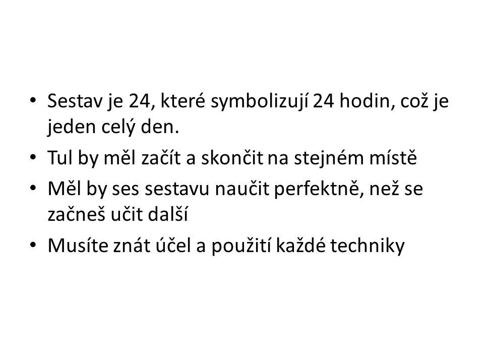 Sestav je 24, které symbolizují 24 hodin, což je jeden celý den. Tul by měl začít a skončit na stejném místě Měl by ses sestavu naučit perfektně, než